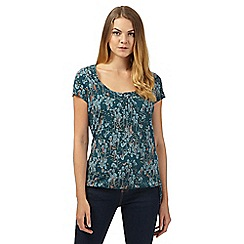 Mantaray - Green tree print self tie hem top