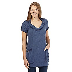 Mantaray - Blue lace trim cowl neck cocoon tunic