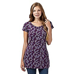 Mantaray - Purple textured leaf print tunic