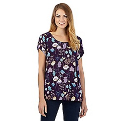 Mantaray - Dark purple floral textured swing shell top
