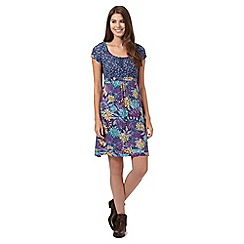 Mantaray - Blue leaf and floral print jersey dress