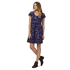 Mantaray - Navy floral textured jersey dress