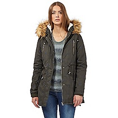 Mantaray - Khaki leaf embellished parka jacket