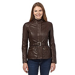 Mantaray - Dark brown quilted leather jacket