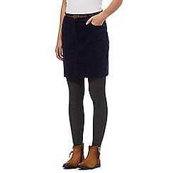 Mantaray - Navy belted corduroy mini skirt