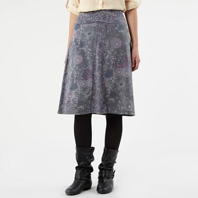 Grey floral sketch skirt