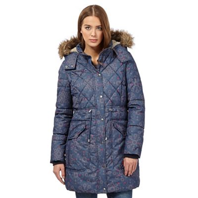 Mantaray Navy quilted floral coat - . -