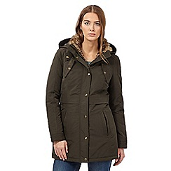 Mantaray - Khaki faux fur parka jacket