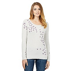 Mantaray - White leaf embellished jumper