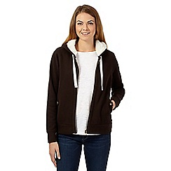 Mantaray - Dark brown fleece lined hoodie