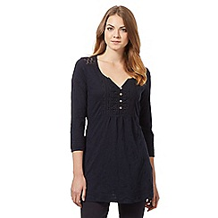 Mantaray - Dark blue floral embroidered tunic top