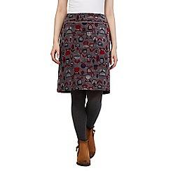 Mantaray - Grey leaf print skirt