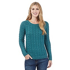 Mantaray - Teal knitted floral jumper