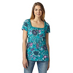 Mantaray - Turquoise floral leaf top