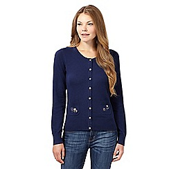 Mantaray - Navy flower embroidered pocket cardigan