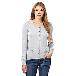 Mantaray - Grey flower embroidered pocket cardigan