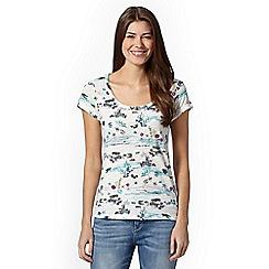 Mantaray - Off white turtle scene print t-shirt