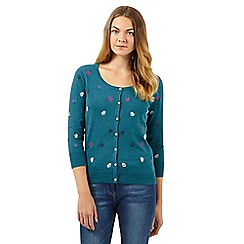 Mantaray - Dark turquoise embroidered bud cardigan