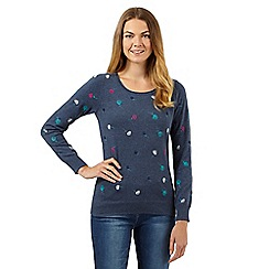 Mantaray - Blue embroidered bud jumper