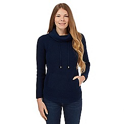 Mantaray - Navy cowl neck button detail jumper