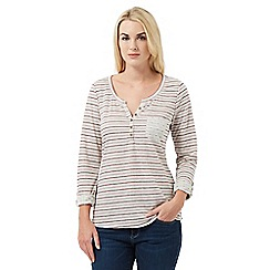 Mantaray - Cream striped jersey top