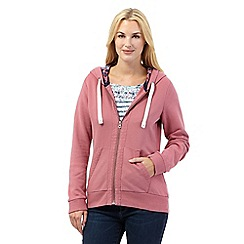 Mantaray - Dark pink broderie trim hoodie