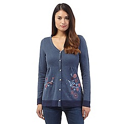 Mantaray - Navy floral embroidered cardigan