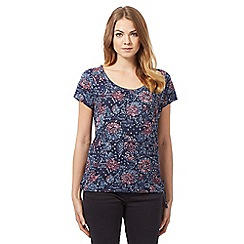 Mantaray - Blue short sleeve floral top