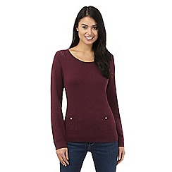 Mantaray - Dark red pointelle pocket jumper