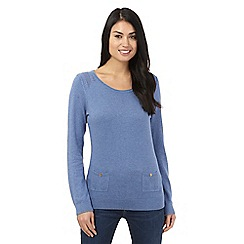 Mantaray - Blue pointelle pocket jumper