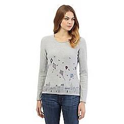 Mantaray - Grey long sleeve kite print top