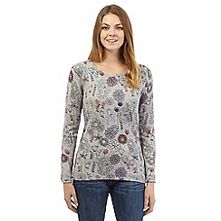 Mantaray - Grey long sleeve floral print top