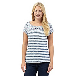 Mantaray - Blue ditsy floral striped top