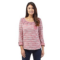 Mantaray - Dark pink floral striped top