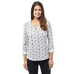 Mantaray - White tulip print top