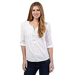 Mantaray - White flower embellished shirt