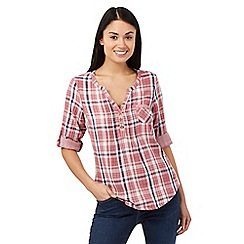 Mantaray - Dark pink checked shirt