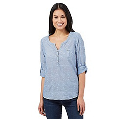 Mantaray - Blue chambray embroidered shirt