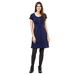Mantaray - Navy short sleeved leaf dress