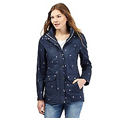 Mantaray - Navy leaf embroidered shower proof mac coat