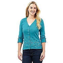 Mantaray - Dark green floral embroidered cardigan