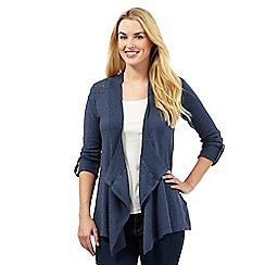 Mantaray - Blue long pointelle waterfall cardigan