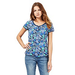 Mantaray - Navy apple and pear print top