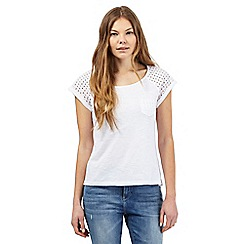Mantaray - White crochet t-shirt