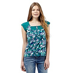 Mantaray - Green floral print square neck top