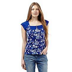 Mantaray - Blue floral print square neck top
