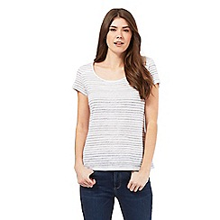 Mantaray - Grey striped linen blend crochet back top