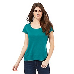 Mantaray - Dark green linen blend crochet back top