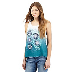 Mantaray - Dark green floral ombre-effect top