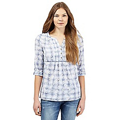Mantaray - Blue checked floral print shirt